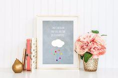 Kunstdruck mit Zitat und Konfetti Regen / art print with quote and confetti rain made by ConfettiCrowns & Awesomeness via DaWanda.com