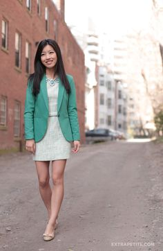 Thrifted girls tweed dress--I want one for work! plus I love the blazer color