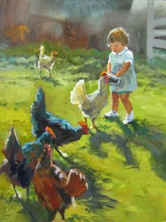 Elin Pendleton - Paintings plus Art Lessons: Sep 22 - Girl Feeding Chickens