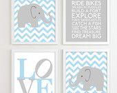 Baby Boy Nursery Art Chevron Elephant Nursery Prints, Kids Wall Art Baby Boys Room, Baby Nursery Decor Playroom Rules Quote Art