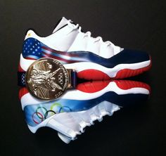 The Air Jordan 11 Low Olympic Rings Custom by Sole On Canvas features USA inspiration with flag detailing and Olympic ring accents. Nike Shoe Store, Buy Nike Shoes, Discount Nike Shoes, Adidas Shoes Outlet, Nike Shoes For Sale, Nike Shoes Cheap, Nike Free Shoes, Nike Factory Outlet, Custom Jordans