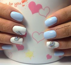 Blue and white nails, Heart nail designs, Hearts on nails, Manicure on the day of lovers, Nails with rhinestones, Nails with stones, Romantic nails, Spring nail art