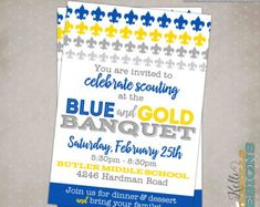 Pin by janis moore on scout ideas pinterest banquet ideas blue gold banquet invitation scouts invitation scout banquet invitation fleur de stopboris Image collections