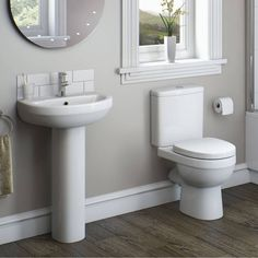 Orchard Eden cloakroom suite with full pedestal basin Toilet For Small Bathroom, Compact Bathroom, Small Rooms, Small Spaces, Cloakroom Suites, White Toilet Seats, Contemporary Toilets, Toilet Suites, Furniture