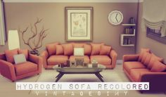 Hydrogen Sofa Set Recolored at Vintage Simy via Sims 4 Updates