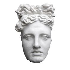 This is a fragmented marble mask featuring the perfect face of the Greek Apollo. It references Del Belvedere's famous sculpture displayed in the Vatican's courtyard. The fragmentation contrasts with the beauty of the features giving this wall-piece a unique element of decor.