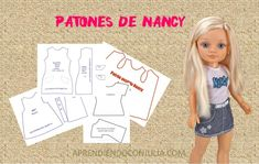 Doll Clothes Patterns, Clothing Patterns, Vestidos Nancy, Nancy Doll, How To Make Clothes, Diy Doll, Girl Dolls, Ibiza, American Girl