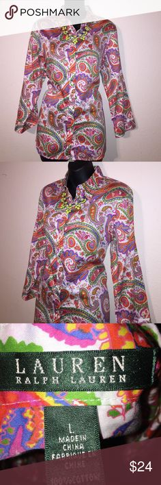Lauren Ralph Lauren Colorful Paisley Button Down Lauren Ralph Lauren Colorful Paisley Button Down Large Lauren Ralph Lauren Tops Button Down Shirts