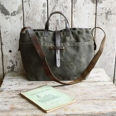 Waxed Canvas Tote: Moss NEW by Peg and Awl
