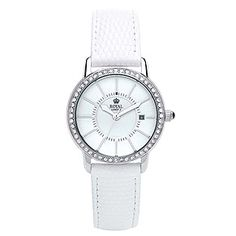 ROYAL LONDON Ladies White Leather Crystal Set Watch
