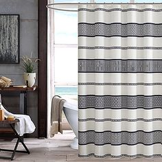 Add a casual yet modern feel to your bathroom& décor with the INK + IVY Kora Printed Shower Curtain. The contemporary shower curtain boats a dramatic print that works different geometric patterns into this stripe design on an off white background. Black White Shower Curtain, Extra Long Shower Curtain, Long Shower Curtains, Black Curtains, Bathroom Shower Curtains, Fabric Shower Curtains, Contemporary Shower, Shower Liner, Beautiful Bathrooms