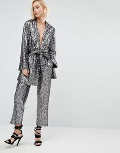 Religion Christmas Awkward Length Trousers In Sequin Co-Ord