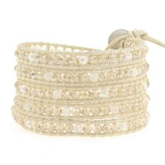 Victoria Emerson wrap bracelet-Crystal on White Ivory Leather
