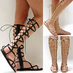 New-Women-SMo1-Black-Gold-Strappy-Gladiator-Knee-High-Tall-Sandals-7-to-11