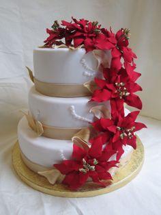 Winter wedding cake - gumpaste poinsettias and gold