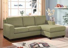 Acme 05915 Vogue Sage Microfiber Reversible Chaise Sectional Sofa