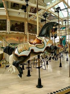 Beautiful steed on the very clean carousel at Roseland Park in Canandaigua NY. All The Pretty Horses, Beautiful Horses, Carosel Horse, Carnival Rides, Wooden Horse, Painted Pony, Merry Go Round, Horse Sculpture, Equine Art