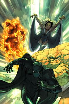 Human Torch, the Thing, Black Panther, and Storm