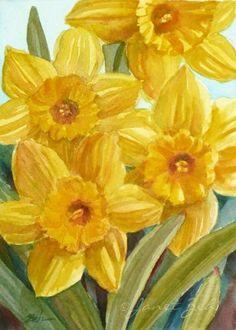 Daffodils Watercolor Painting Original Floral Wall Art 5x7 Janet Zeh
