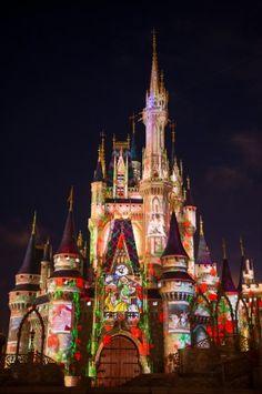 Magic Kingdom Park's Nighttime Castle Projection Show.I love Disney! Disney Dream, Disney Love, Disney Nerd, Disney Resorts, Disney Vacations, Disney Trips, Disney World Planning, Disney World Trip, Disney Worlds