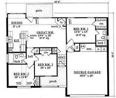 Country Style House Plans - 1086 Square Foot Home, 1 Story, 3 Bedroom and 2 3 Bath, 2 Garage Stalls by Monster House Plans - Plan 75-503