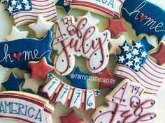 Fourth of july cookies summer cookies, fancy cookies, iced cookies, royal icing cookies Summer Cookies, Fancy Cookies, Iced Cookies, Cute Cookies, Holiday Cookies, Valentine Cookies, Frosted Cookies, Crazy Cookies, Heart Cookies