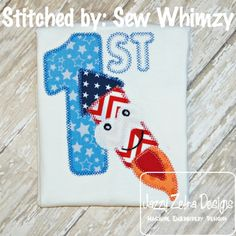 1st 4th of July Funny Rocket Applique Design with Square Diagonal Stitching