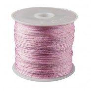 Satijnkoord roze 1 mm per meter www.beadscreations.nl