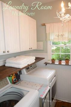 Laundry Room Makeover!  Vintage Linens are the inspiration in my laundry room re-do! #laundryroomideas #laundryroom
