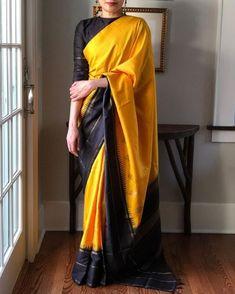 "Tuck the border in to add a contemporary twist to a traditional kanjivaram.   Reposting @eclecticclothes:  ... ""#kanjivaram #kanchipuramsaree #throwback #weavesofindia #sareesofinstagram #saree #sareespeak #whatiwore #india #delhi #gurgaon  #ootd #sari #sareelove #vintage #sariswelove #saridrapes #indiaweaves #sareetowork #ootdindia #lifeinasaree #sareenotsorry #sarinotsorry #sixyardsofelegance #sareesofinstagram #sareegram #textiles #keepcalmandsareeon Kanjivaram Sarees Silk, Kanchipuram Saree, Half Saree Designs, Silk Saree Blouse Designs, South Indian Wedding Saree, Saree Draping Styles, Bridal Silk Saree, Stylish Blouse Design, Blouse Models"