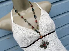 Long romantic Bohemian necklace green pink by Gypsymoondesigns, $65.00