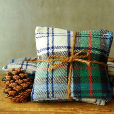 Made from authentic Scottish Tartan fabric. // Holiday Plaid Organic Lavender Sachets Set of 3 Handmade FREE SHIPPING. $15.00, via Etsy.