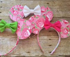 Handmade Minnie Mouse inspired ears covered in authentic Lilly Fabric. Made to order. Headband size will fit older children and adults. Sides and inside of headband are lined with ribbon. The colors I have available are aqua, pink, white, gold and silver. If you have a preference
