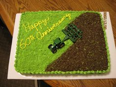 Farming Cake I used an pan and 2 boxes of white cake mix. I mixed my buttercream in the morning and spread and thin layer of the green out on some waxed pape. Barnyard Cake, Farm Cake, Farm Birthday, Cool Birthday Cakes, Farmer Birthday Cake, Tractor Birthday Cakes, Tractor Cakes, Red Tractor, Cupcakes