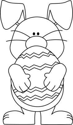 Black And White Easter Bunny Hugging An Easter Egg