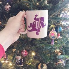 TCU Horned Frog Circle Monogram Coffee Cup by TiaCherieDesigns