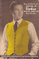 vintage mens waistcoat wartime knitting pattern 1940s
