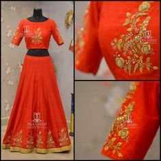 Smiles are Always in Fashion !!! Beautiful orange color lehenga and crop top with floret lata design hand embroidery golsdthread work. TS 3H7-217- AUGAvailable For orders/queriesCall/whats app on8341382382 orMail  tejasarees@yahoo.com. 15 August 2017