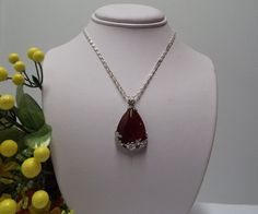"""$14.99 Stone Pendant Necklace/Jewelry Red Agate  Sterling Silver Chain 20"""" #Unbranded #Pendant"""