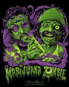T-Shirt illustration of Cheech and Chong as zombies in Up In Smoke.