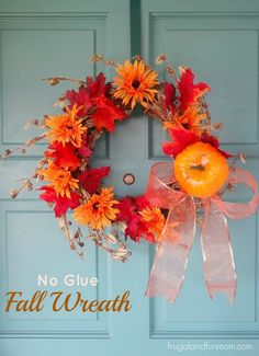 No Glue Fall Door Wreath Idea! #EASY #DIY #DollarStore
