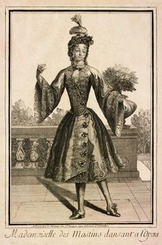 Engraving, Mademoiselle des Mastins Dansant a l'Opera, Jean Mariette (publisher), Paris, late 17th century. Museum no. E.4960-1968, given by Dame Marie Rambert
