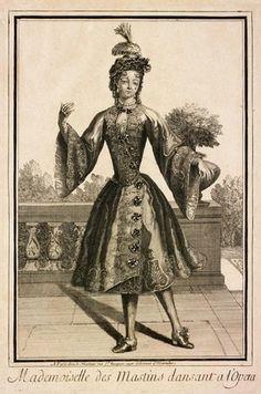 Engraving, Mademoiselle des Mastins Dansant a l'Opera, Jean Mariette (publisher), Paris, late 17th century