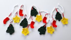 Crochet Christmas garland with stars, trees, and stockings