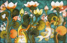 Underwater Indian Traditional Paintings, Indian Paintings, Traditional Art, Floral Paintings, Kerala Mural Painting, Ganesha Painting, Madhubani Art, Indian Folk Art, Mural Art