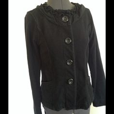 "Nick & Mo Exclusive Collection Jacket Nick & Mo Exclusive Collection Black StretchJacket.  Front button closure.  Ruffled neckline. Cotton/spandex material (jersey).  Long sleeves, 24"".  Shoulder width 14"".  Length, 21"" (shoulder to hem). Excellent condition. Nick & Mo Jackets & Coats"