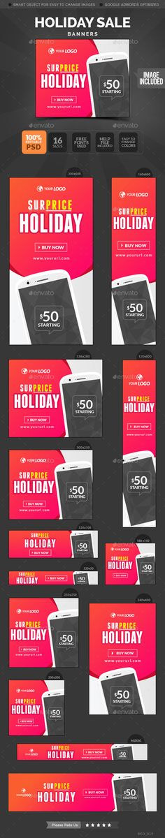 Holiday Sale Banners Template PSD #banner #webbanner #design Download: http://graphicriver.net/item/holiday-sale-banners/10654606?ref=ksioks