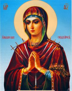Our Lady of Sorrows Icon Religious Icons, Religious Art, Our Lady Of Sorrows, Mama Mary, Blessed Mother Mary, Orthodox Icons, My Prayer, Virgin Mary, Christianity