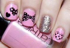 High resolution-cute pink nails for girls - Nail Designs Picture Gem Nail Designs, Girls Nail Designs, Diamond Nail Designs, Nail Designs Pictures, Pretty Nail Designs, Pretty Nail Art, Nails Design, Cute Pink Nails, Pink Nail Art