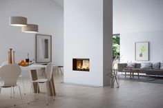 Find your new fireplace in a beautiful design that creates a warm centrepiece in your home. Get Scandinavian quality with a fireplace insert - RAIS Scandinavian Fireplace, Wall Fires, Contemporary Fireplace, Fireplace Design, Walls Room, Open Plan Kitchen Living Room, Home Decor, Open Fireplace, Fireplace